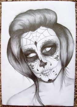 Candy Skull Woman by CharlieHerbs