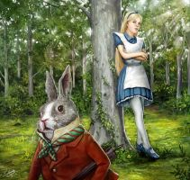 Alice stares at the rabbit by lathander1987