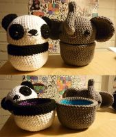 Elephant and Panda pods by krowzivitch