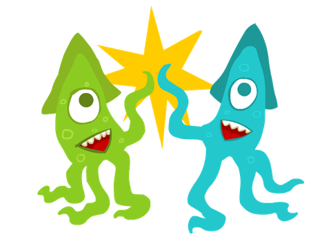Squid High Five by JimmyCurbstomp