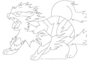 Arcanine - Lineart by guildedwings