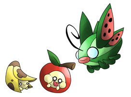 Bananny, Armanzana, and Melonsect by T-Reqs