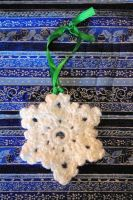 White Sparkle Crocheted Snowflake Ornament #1 by AlleyKat666