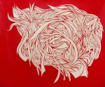 Red Vinyl Cut with Exacto Knife by arielniweihuang