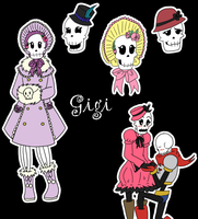Fan OCs_Undertale_Gigi_Outfits and Colors by MevrouwRoze