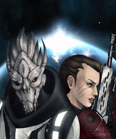 ME3: We Face Our Enemy Togehter by drawanon