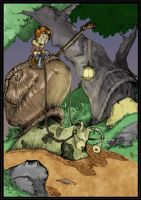 Boy and his Snail by zakknroll Coloured by Highlander0423