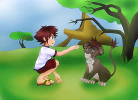 Little Sora and Lion Sora by fryzylstyk