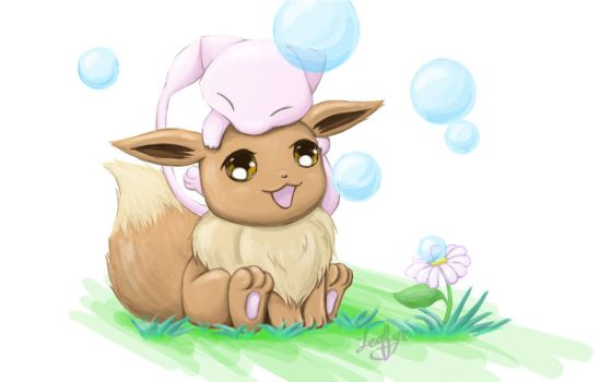 Bubble Bubble, Mew and Eevee :3 by Leafye