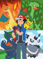 Ash and his Mega Evolutions by MCsaurus