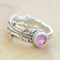 Spoon Ring with Pink Tourmaline by metalsmitten