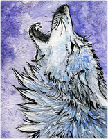 ACEO.:Ghost Howl:. by WhiteSpiritWolf