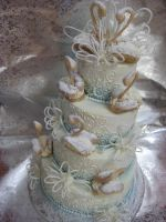 Swans and Swirls Wedding Cake by forgetmmenot
