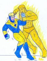 Booster Gold vs Molten Man by Jose-Ramiro