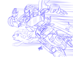 SKETCH - Rainbow Dash Races Autobot Blurr by Mono-Phos