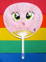 Pink Fluffy Uchiwa Dancing on Rainbows by JazzyTyfighter