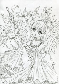 Lily's Angel Lineart by leaair
