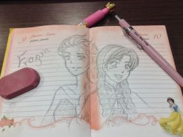 Sketch - Elsa and Anna by LitaOliveira
