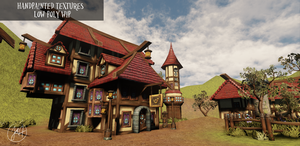 Handpainted textures Town WIP by Mad-Owl