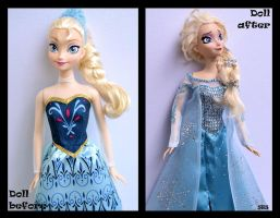 repainted ooak snow queen elsa doll from frozen. by verirrtesIrrlicht