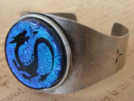 Dragon's Cuff Glass Bangle by FusedElegance