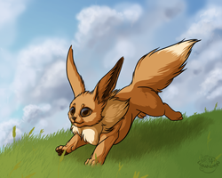 Running Eevee by Lunewen