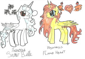 Snow Belle and Flame Heart by JustWestOfWeird