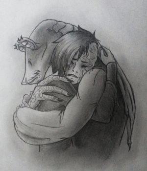 Please don't cry, I'm here for you. by Remthedeathgoddess