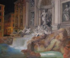 The Trevi Fountain at Night by JayTrapOnIt