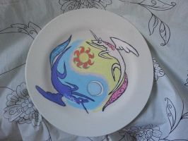 Princess Celestia and Luna dinner plate painting by LightningChaser