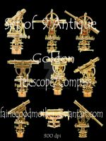 9 Antique Telescope-Compass by FairieGoodMother