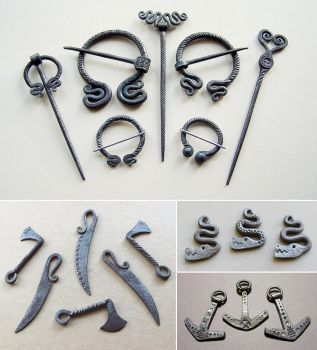 Steel brooches and pendants 3 by Astalo