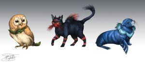 Realistic Pokemon Sketches: Sun and Moon Starters