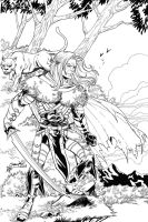 Drizzt inks over Jeremy Dale by ladykelly