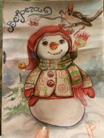 Subject: snowman with a scarf . Sketch hour by UnHandLynx