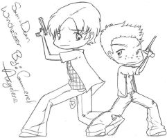 Dean and Sam Winchester - Chibis - B/W by MageStiles
