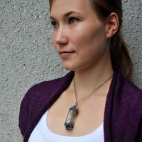 Time - hourglass pendant on model by Eire-handmade