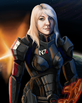 Mass Effect: Me as female Shepard by songe-creux