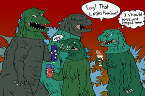 Quickie: Godzilla Halloween Party by a3dkid