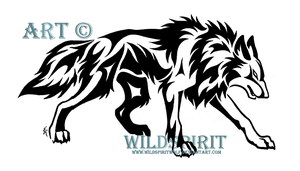 Stalking Tribal Wolf Tattoo by WildSpiritWolf