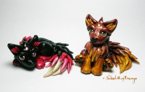 2 Little Fantasy Wolf Pups by SweetMayDreams