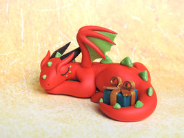 Red Present Dragon by KuddlyKreatures