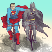 Bike buddys, Superman, Batman by RoryJas