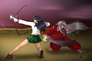 InuKag: Battle Stance COLORED by InuKagomeluvrs