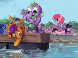 Fishing for crabs by animegoatass