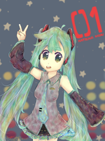 FUTURISTIC STAR!! Hatsune Miku [SPEEDPAINT] by Cotton-san