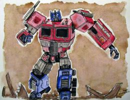Optimus Prime - Watercolour Painting by LethalChris