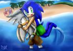 Beach day ft Sonic and Silver by Cometshina