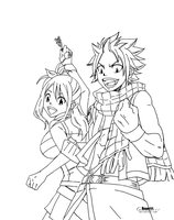 natsu and lucy , no coloring by Anam111