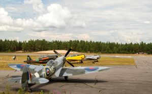 Spitfire and Texans by werneri